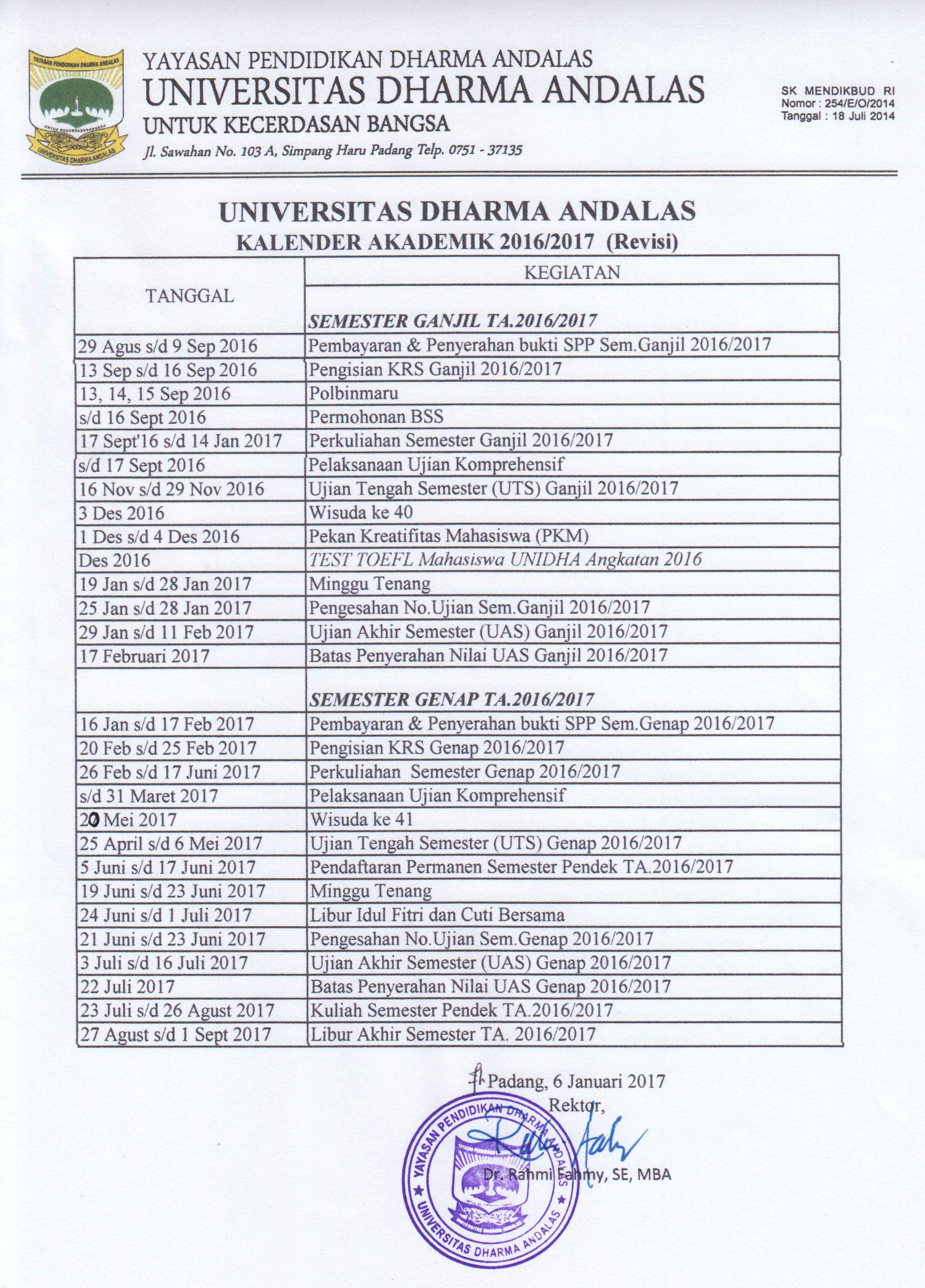 Kalender Akademik 20162017