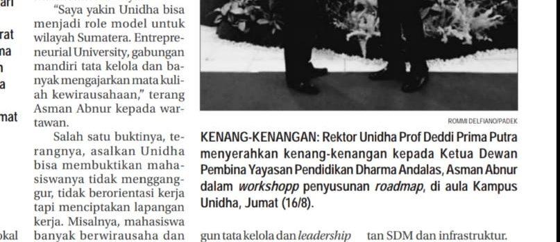 Unidha matangkan konsep jadi Entrepreneurial University, Padang Ekspres, Senin 19 Agustus 2019