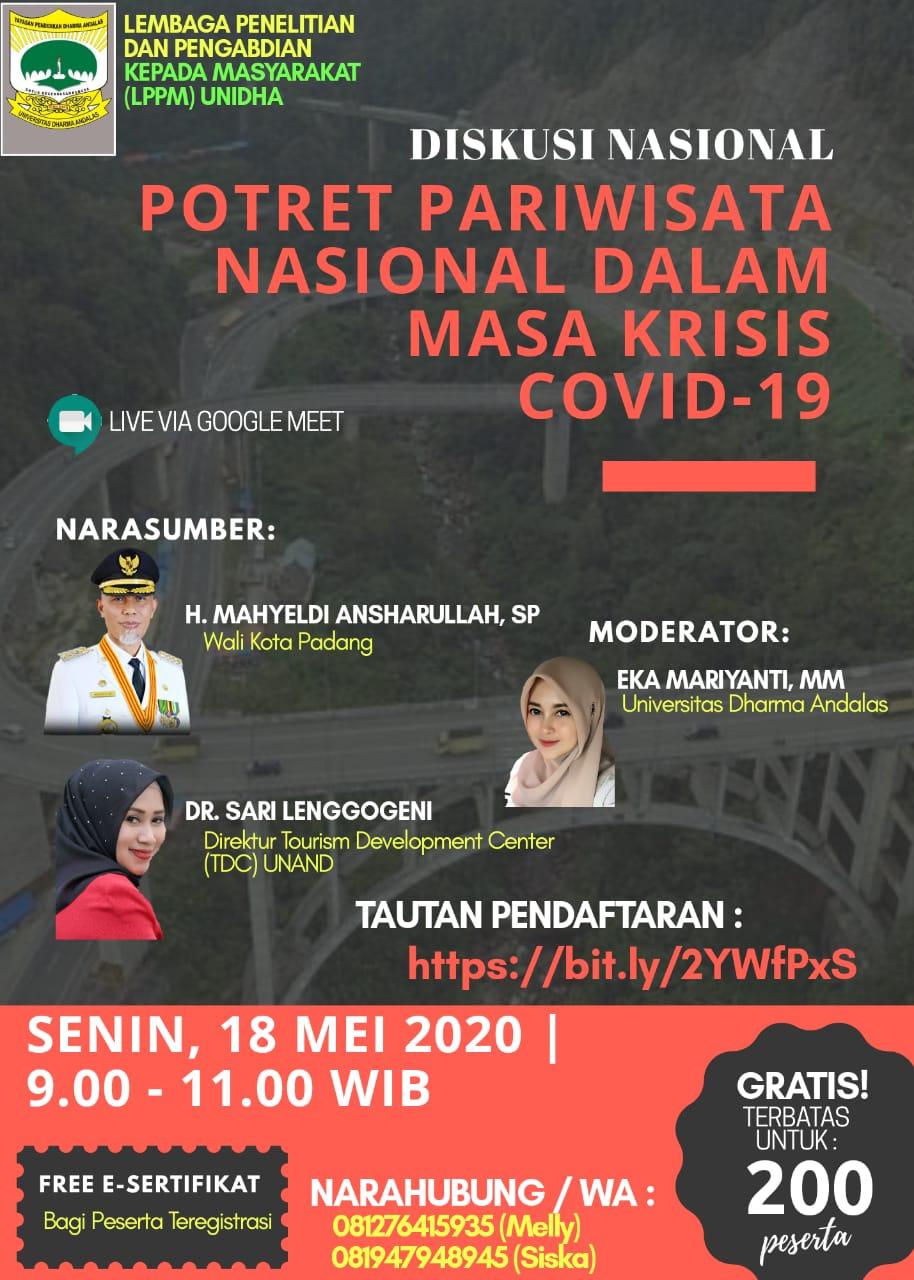 """Diskusi Nasional """"Potret Pariwisata Nasional dalam Masa Krisis Covid-19"""""""