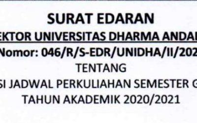 Jadwal Perkuliahan Semester Genap Tahun Akademik 2020/2021